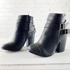 Free reign black heeled boots